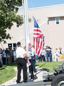 Raising the Flags at dedication