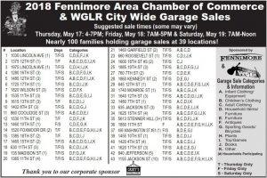 2018 Garage Sale Locations list